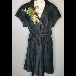 Baby Phat denim dress Gold Graphics size 20